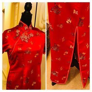 Traditional Floral Mandarin Dress